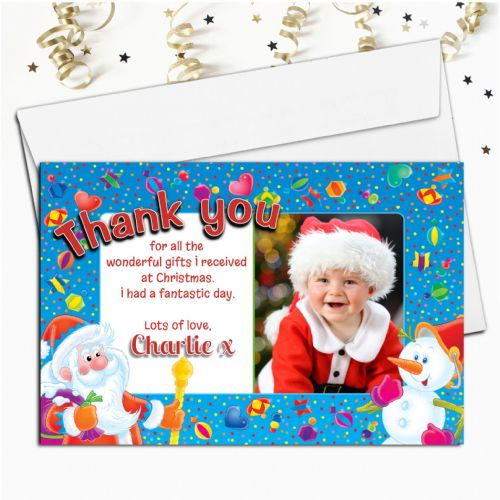 10 Personalised Christmas Xmas Thank you PHOTO Cards N3